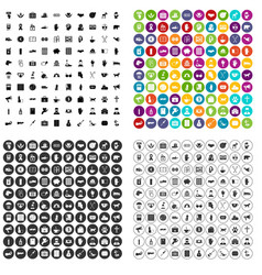 100 donation icons set variant vector image