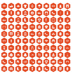 100 fashion icons hexagon orange vector