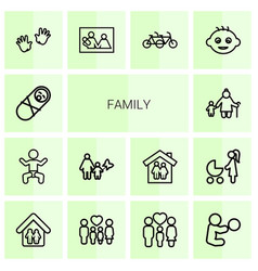 14 family icons vector