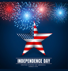 4 th july usa star independence day fireworks vector