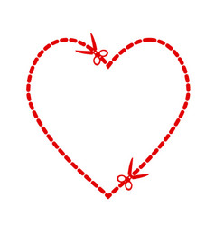 a cut out red heart symbol shape with scissors vector image
