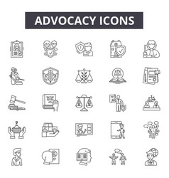 advocacy line icons signs set outline vector image