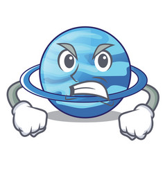 Angry planet uranus in the cartoon form vector