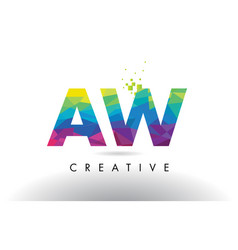 Aw a w colorful letter origami triangles design vector