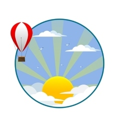 Balloon flies on a background of clouds and sun vector image