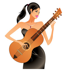 beautiful woman playing acoustic guitar vector image