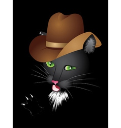 Black cat cowboy vector image