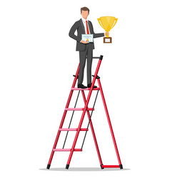 Businessman on ladder with trophy and certificate vector