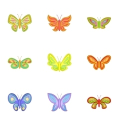 Butterfly insect icons set cartoon style vector