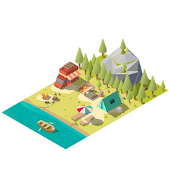 Camping pitch in national park isometric vector