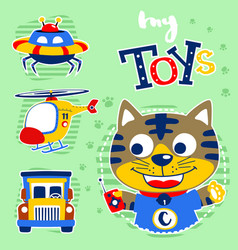 Cartoon kitten with its toys vector
