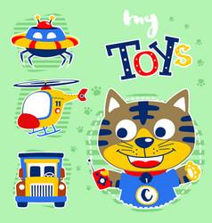 cartoon kitten with its toys vector image
