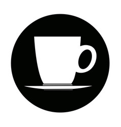 Ceramic cup of coffee plate handle beverage vector