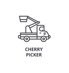cherry picker line icon sign vector image