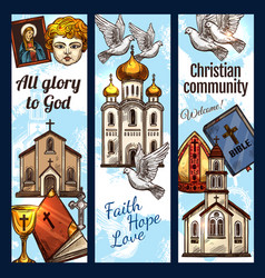 christian community religious banners vector image
