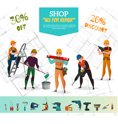 Construction workers poster vector
