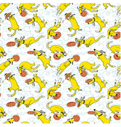 cute activuty dogs seamless pattern doodle vector image