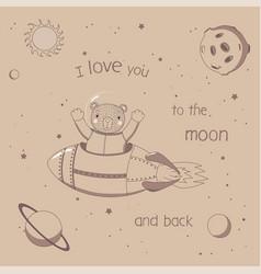 Cute astronaut poster vector