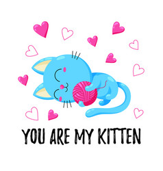 cute greeting card with cat template for vector image