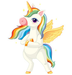 cute rainbow unicorn in standing position on vector image