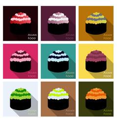 Cute roll character with caviar ikura gunkan vector