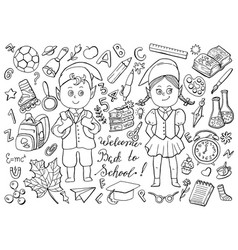 design black and white school set vector image