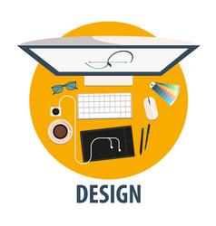 Design flat icon design freelance vector