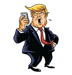 Donald Trump and Social Media Cartoon vector