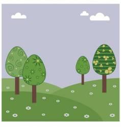 Easter egg landscape vector image