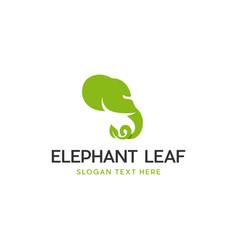 Elephant leaf nature silhouette logo vector
