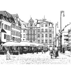 european old town vintage hand drawn sketch vector image