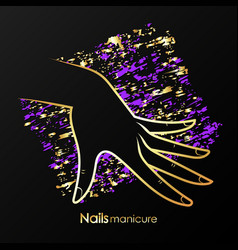 Female hand with beautiful design nails vector
