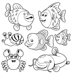 Fishs black and white collection vector image