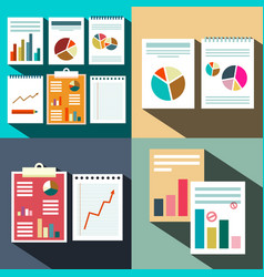 flat business paper data report background graphs vector image