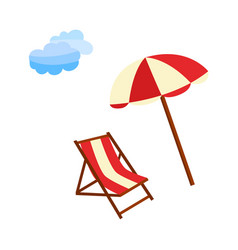Flat travelling beach vacation symbols icon vector