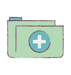 folder medical blurred with shape croos vector image
