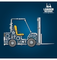Forklift truck silhouette composed details vector