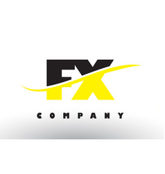 Fx f x black and yellow letter logo with swoosh vector