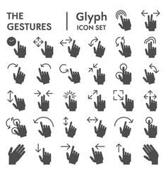Gestures glyph icon set hand symbols collection vector