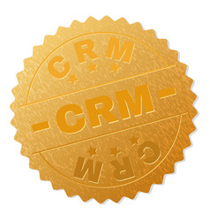 gold crm badge stamp vector image