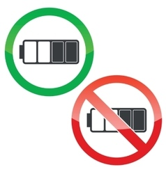 Half battery permission signs set vector