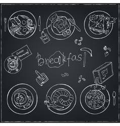 Hand drawn breakfast set Vintage vector