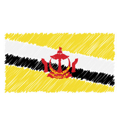 Hand drawn national flag of brunei isolated on a vector