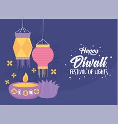 happy diwali festival candle in diya lamp vector image