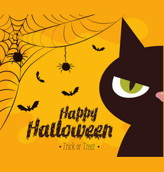 happy halloween card with black cat vector image