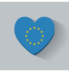 Heart-shaped icon with flag of Europe vector image vector image