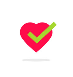 Heart tick icon isolated vector