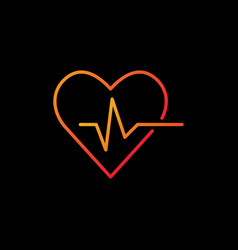 heartbeat colored icon - heart rate outline vector image
