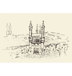 Holy Kaaba Mecca Saudi Arabia muslim drawn vector