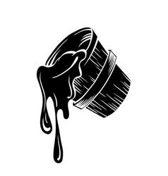honey sketch bucket silhouette with honey drop vector image